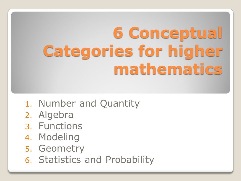 6 Conceptual Categories for higher mathematics 1. Number and Quantity 2. Algebra 3. Functions 4. Modeling 5. Geometry 6. Statistics and Probability