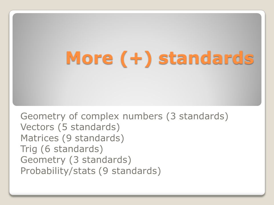 More (+) standards More (+) standards Geometry of complex numbers (3 standards) Vectors (5 standards) Matrices (9 standards) Trig (6 standards) Geomet
