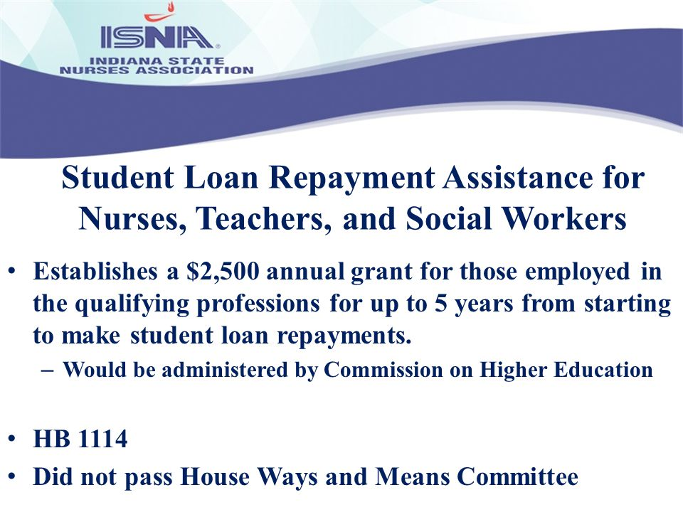 Student Loan Repayment Assistance for Nurses, Teachers, and Social Workers Establishes a $2,500 annual grant for those employed in the qualifying prof