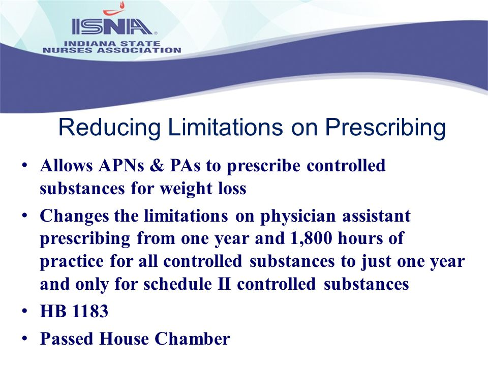 Reducing Limitations on Prescribing Allows APNs & PAs to prescribe controlled substances for weight loss Changes the limitations on physician assistan