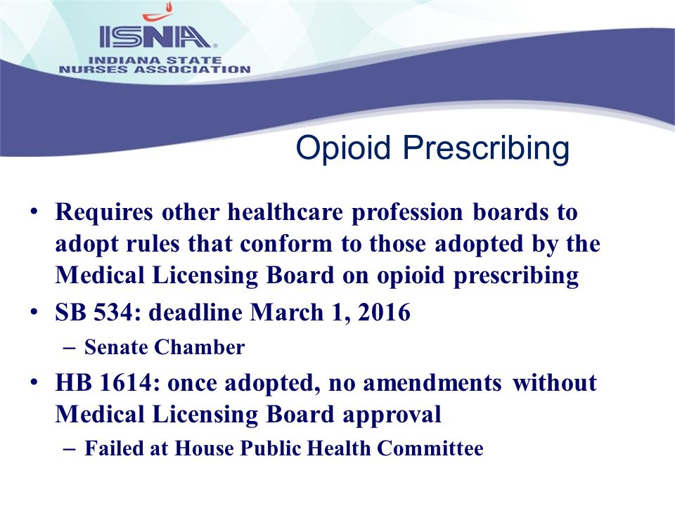 Opioid Prescribing Requires other healthcare profession boards to adopt rules that conform to those adopted by the Medical Licensing Board on opioid p