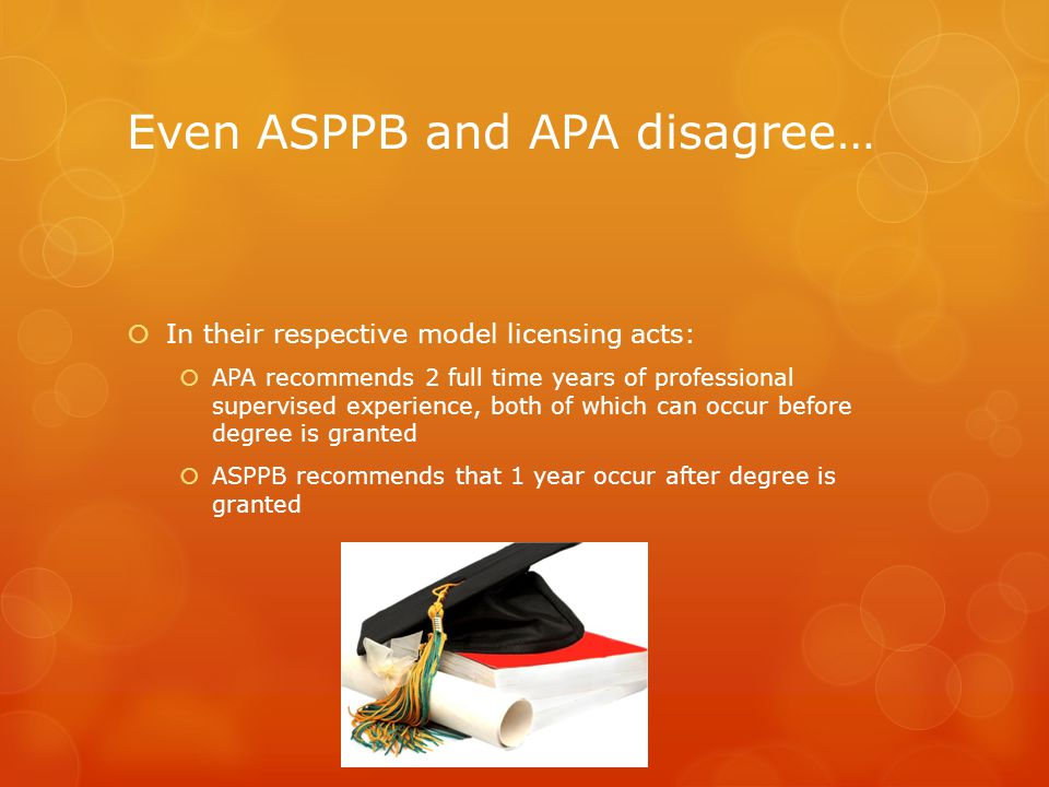 Even ASPPB and APA disagree…  In their respective model licensing acts:  APA recommends 2 full time years of professional supervised experience, both of which can occur before degree is granted  ASPPB recommends that 1 year occur after degree is granted