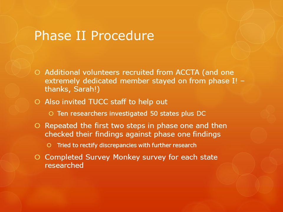 Phase II Procedure  Additional volunteers recruited from ACCTA (and one extremely dedicated member stayed on from phase I.