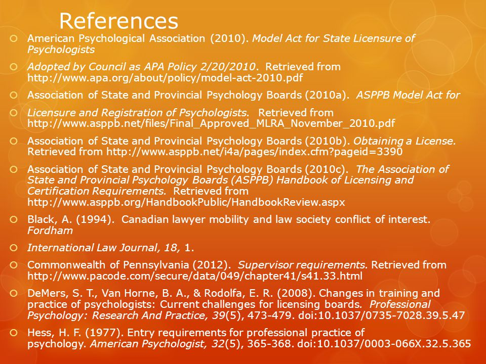 References  American Psychological Association (2010).