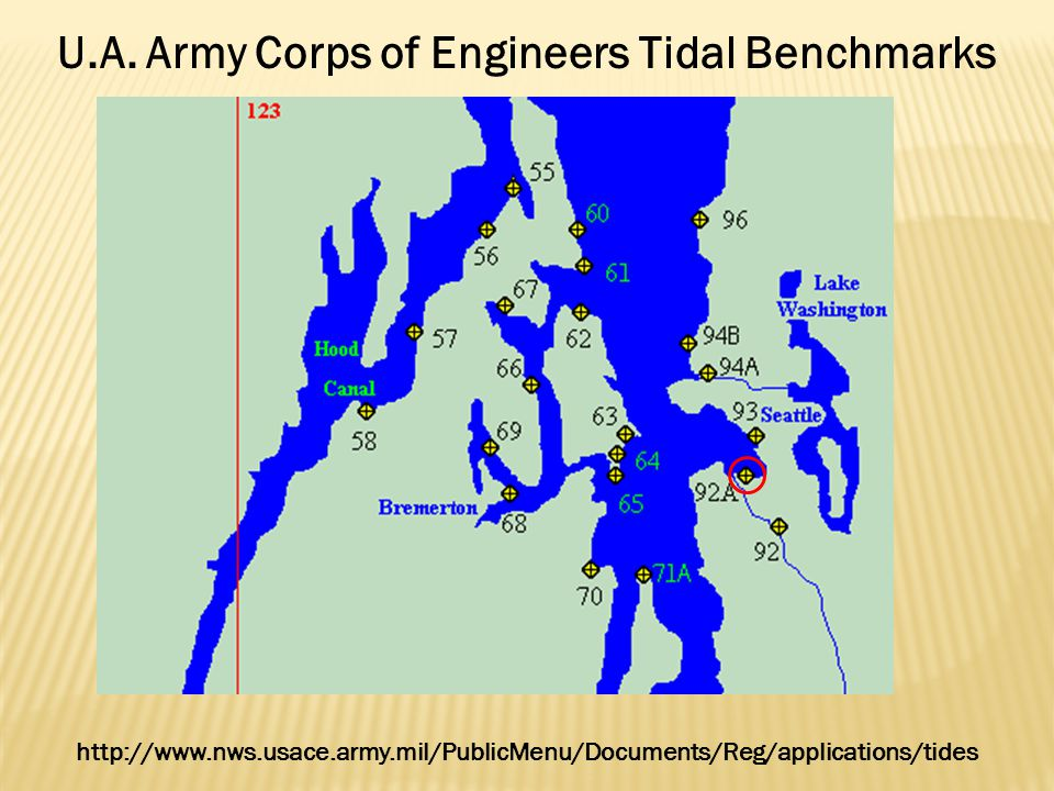 U.A. Army Corps of Engineers Tidal Benchmarks http://www.nws.usace.army.mil/PublicMenu/Documents/Reg/applications/tides