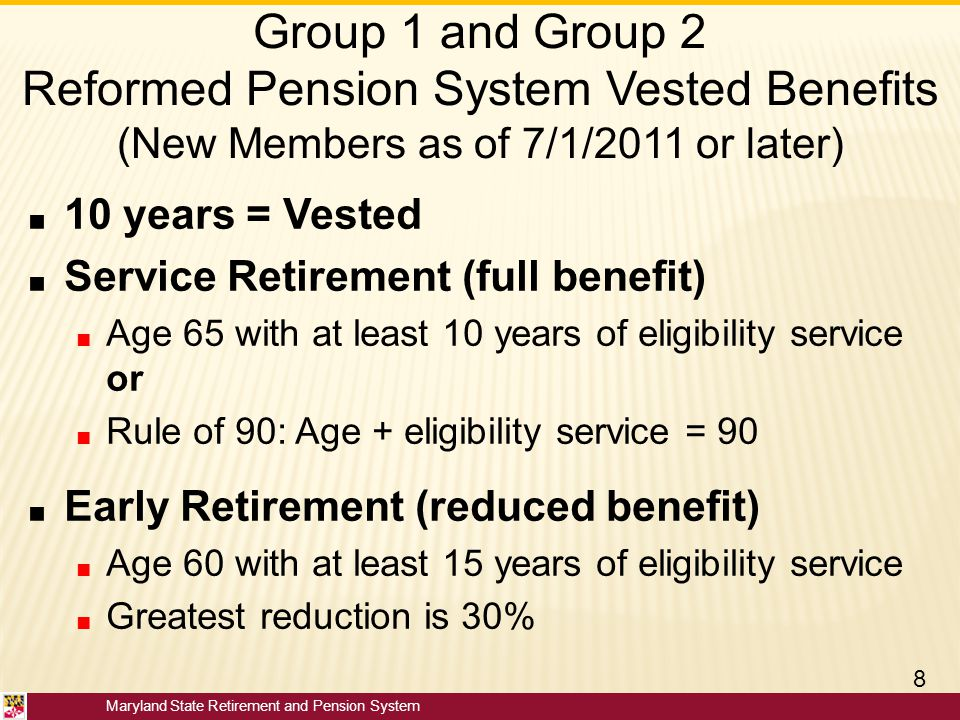 Maryland State Retirement and Pension System Group 1 and Group 2 Reformed Pension System Vested Benefits (New Members as of 7/1/2011 or later) ■ 10 ye