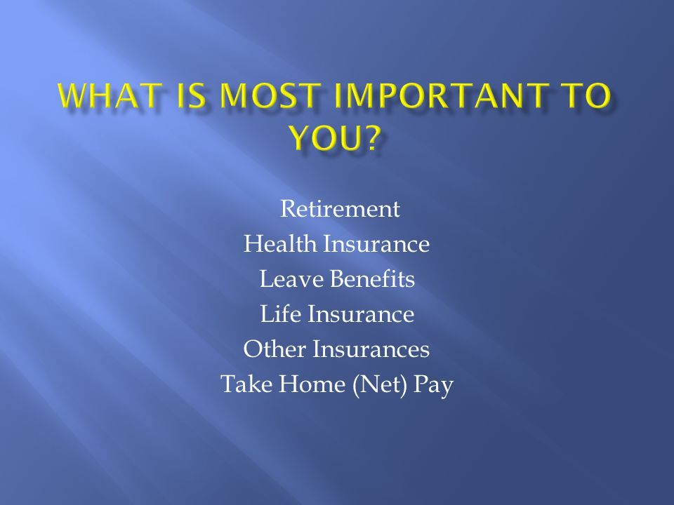 Retirement Health Insurance Leave Benefits Life Insurance Other Insurances Take Home (Net) Pay