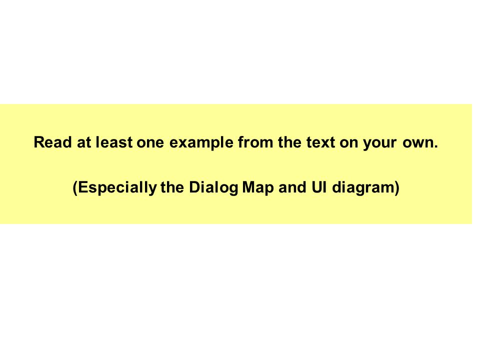 Read at least one example from the text on your own. (Especially the Dialog Map and UI diagram)
