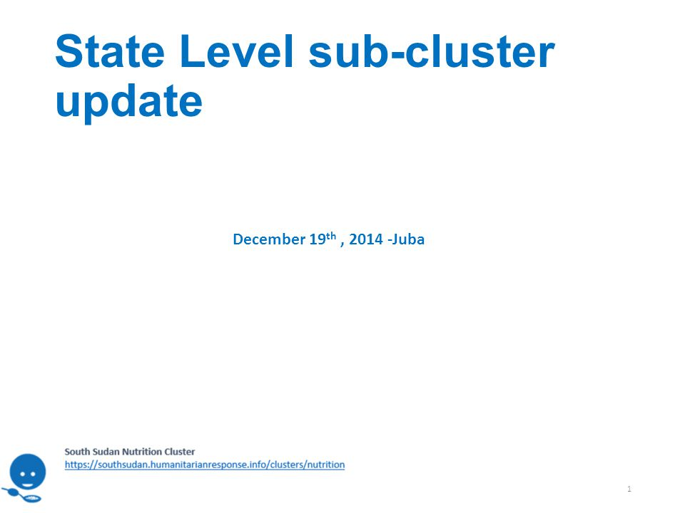 State Level sub-cluster update 1 December 19 th, 2014 -Juba