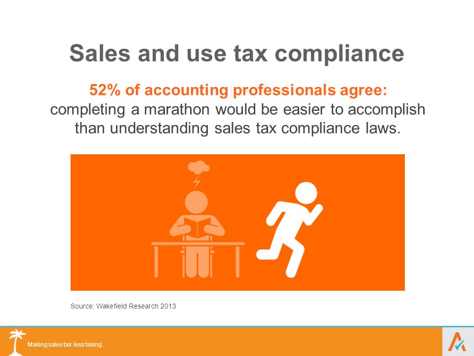 Making sales tax less taxing. Sales and use tax compliance 52% of accounting professionals agree: completing a marathon would be easier to accomplish