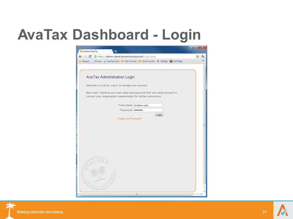 Making sales tax less taxing. AvaTax Dashboard - Login 31