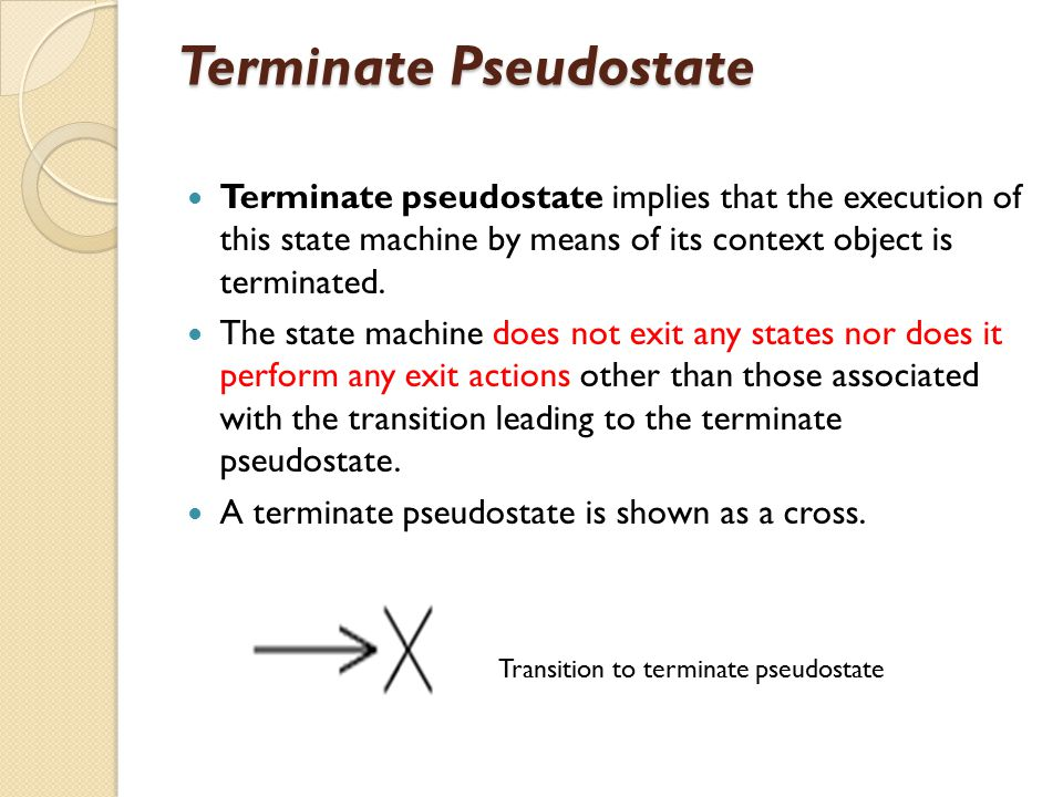 Terminate Pseudostate Terminate pseudostate implies that the execution of this state machine by means of its context object is terminated. The state m