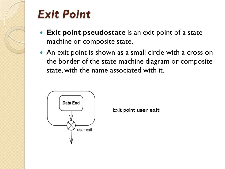 Exit Point Exit point pseudostate is an exit point of a state machine or composite state.