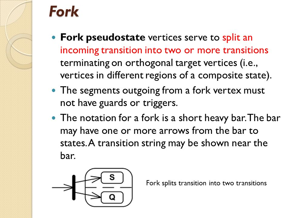 Fork Fork pseudostate vertices serve to split an incoming transition into two or more transitions terminating on orthogonal target vertices (i.e., vertices in different regions of a composite state).