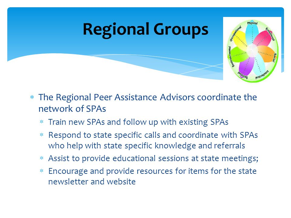  The Regional Peer Assistance Advisors coordinate the network of SPAs  Train new SPAs and follow up with existing SPAs  Respond to state specific calls and coordinate with SPAs who help with state specific knowledge and referrals  Assist to provide educational sessions at state meetings;  Encourage and provide resources for items for the state newsletter and website Regional Groups