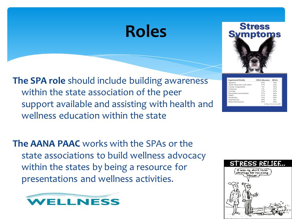 The SPA role should include building awareness within the state association of the peer support available and assisting with health and wellness educa