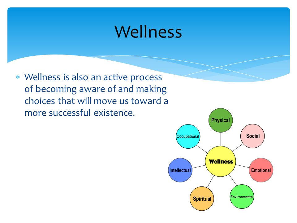  Wellness is also an active process of becoming aware of and making choices that will move us toward a more successful existence.