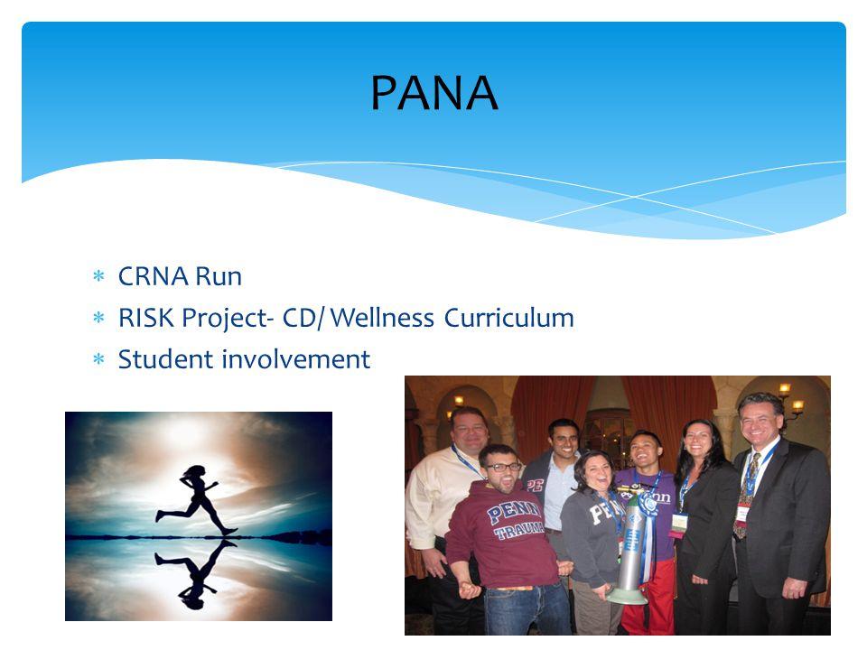  CRNA Run  RISK Project- CD/ Wellness Curriculum  Student involvement PANA