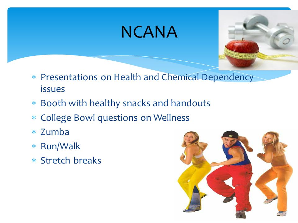  Presentations on Health and Chemical Dependency issues  Booth with healthy snacks and handouts  College Bowl questions on Wellness  Zumba  Run/W