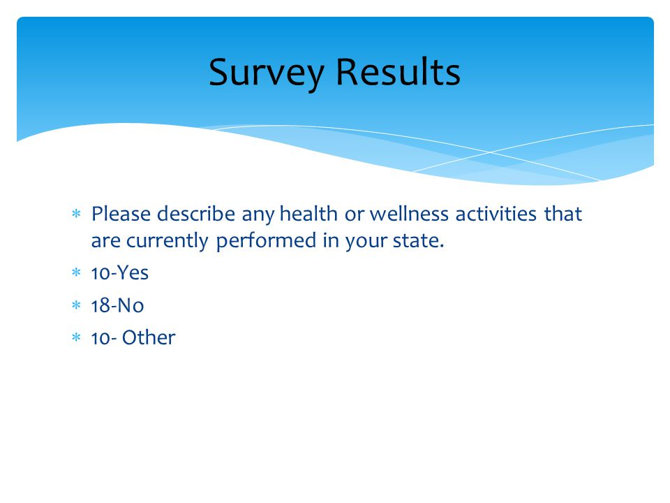  Please describe any health or wellness activities that are currently performed in your state.  10-Yes  18-No  10- Other Survey Results