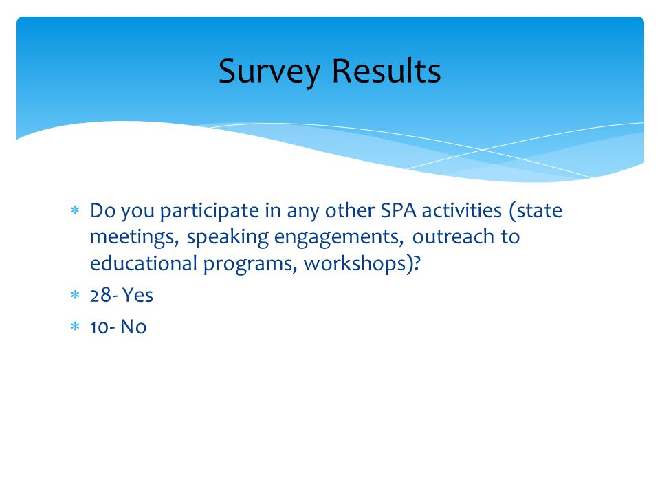  Do you participate in any other SPA activities (state meetings, speaking engagements, outreach to educational programs, workshops)?  28- Yes  10-