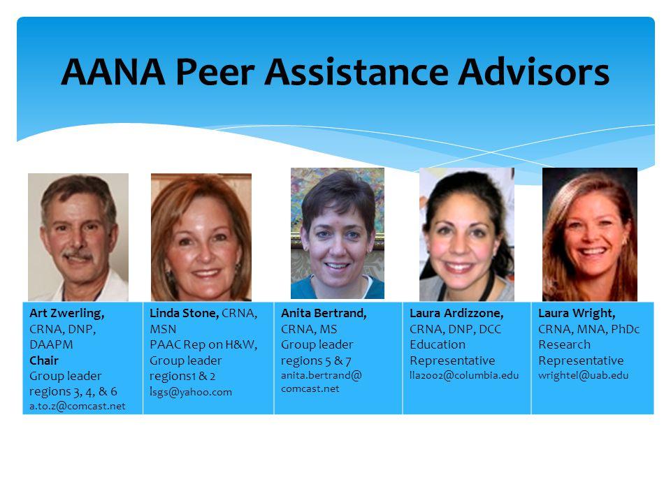 AANA Peer Assistance Advisors Art Zwerling, CRNA, DNP, DAAPM Chair Group leader regions 3, 4, & 6 a.to.z@comcast.net Linda Stone, CRNA, MSN PAAC Rep o