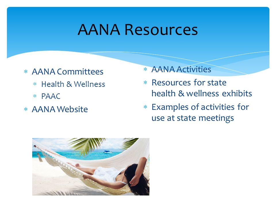 AANA Resources  AANA Committees  Health & Wellness  PAAC  AANA Website  AANA Activities  Resources for state health & wellness exhibits  Examples of activities for use at state meetings