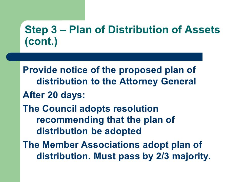 Step 3 – Plan of Distribution of Assets (cont.) Provide notice of the proposed plan of distribution to the Attorney General After 20 days: The Council adopts resolution recommending that the plan of distribution be adopted The Member Associations adopt plan of distribution.