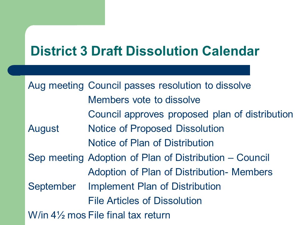 District 3 Draft Dissolution Calendar Aug meetingCouncil passes resolution to dissolve Members vote to dissolve Council approves proposed plan of distribution August Notice of Proposed Dissolution Notice of Plan of Distribution Sep meetingAdoption of Plan of Distribution – Council Adoption of Plan of Distribution- Members SeptemberImplement Plan of Distribution File Articles of Dissolution W/in 4½ mosFile final tax return
