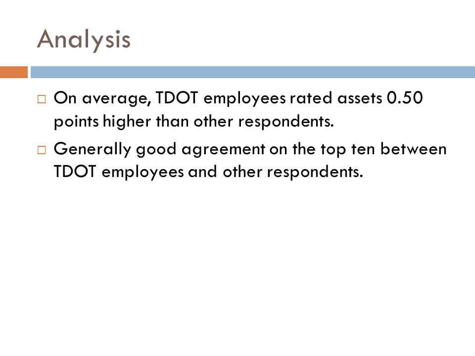 Analysis  On average, TDOT employees rated assets 0.50 points higher than other respondents.