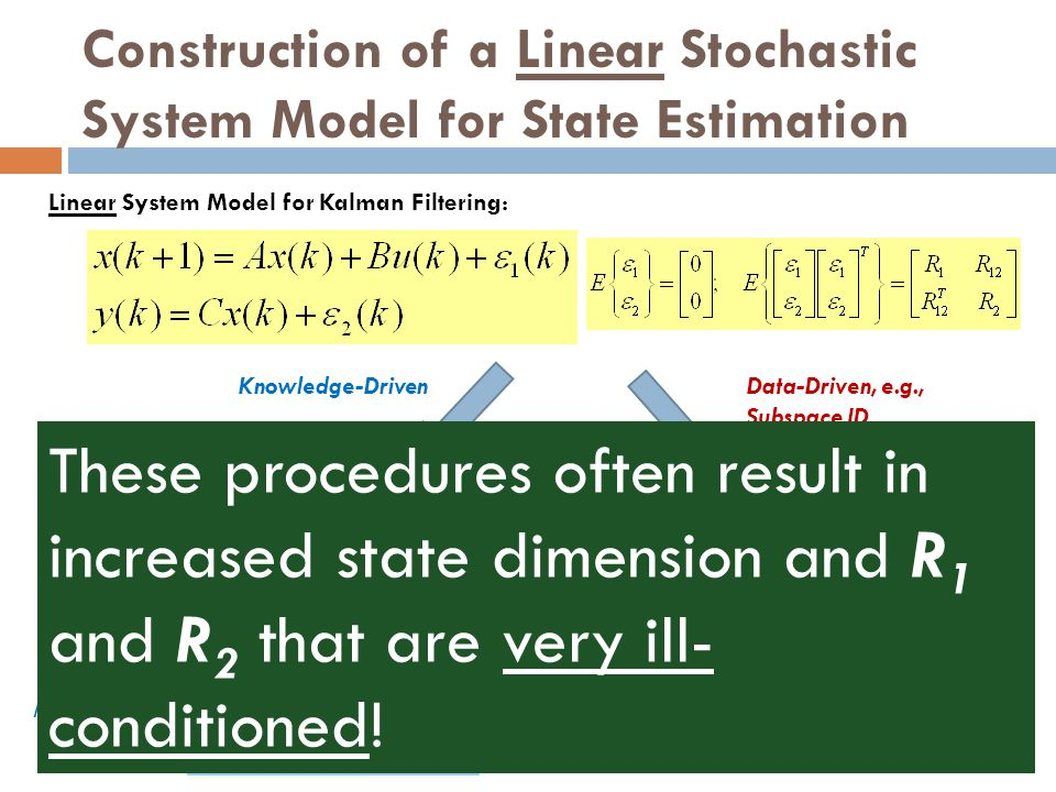 Construction of a Linear Stochastic System Model for State Estimation Linear System Model for Kalman Filtering: {A, B, C, K, Cov(e)} within some simil