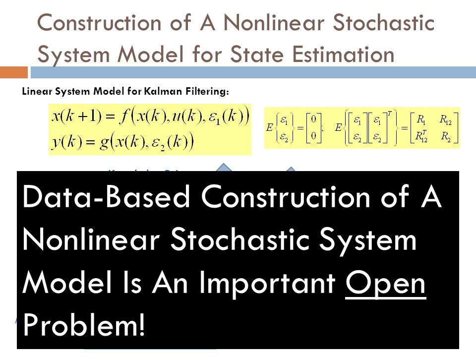 Construction of A Nonlinear Stochastic System Model for State Estimation Linear System Model for Kalman Filtering: {f,g} Nonlinear Subspace Identifica