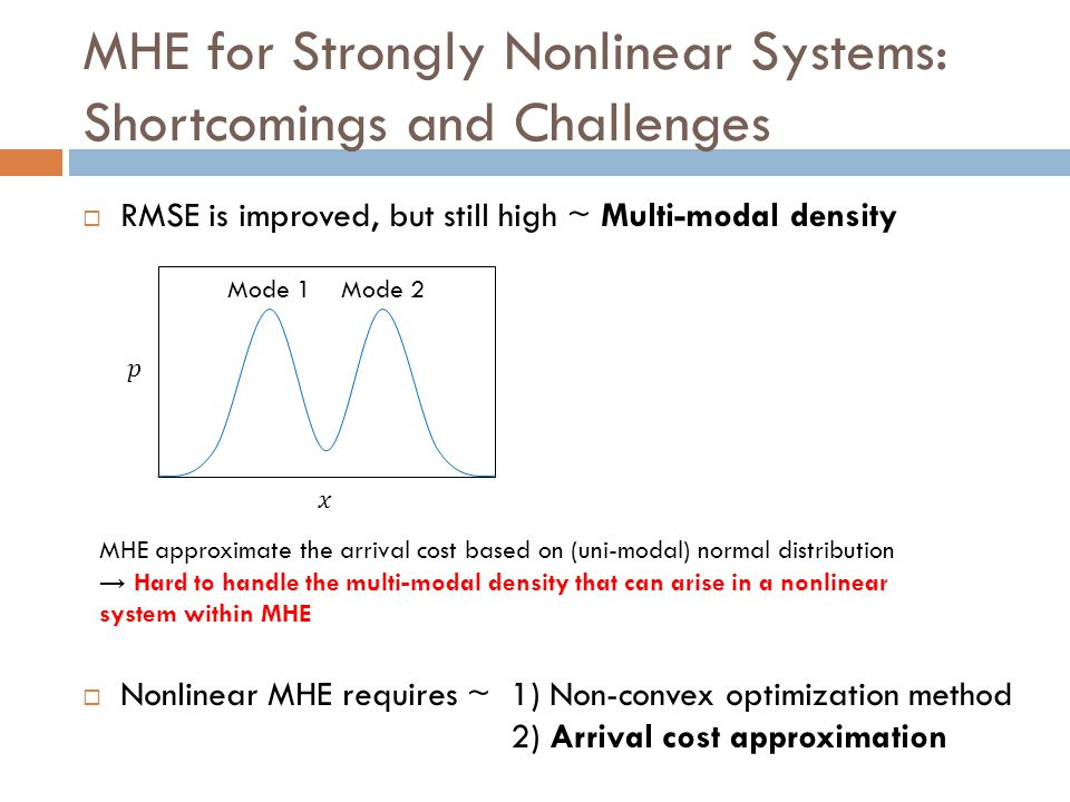 MHE for Strongly Nonlinear Systems: Shortcomings and Challenges  RMSE is improved, but still high ~ Multi-modal density  Nonlinear MHE requires ~1)