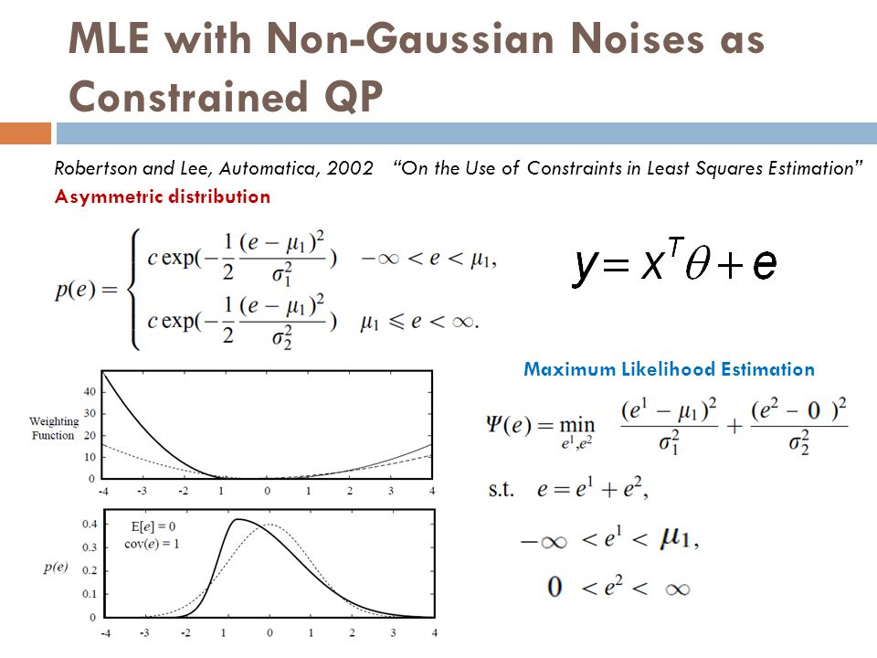 "MLE with Non-Gaussian Noises as Constrained QP Maximum Likelihood Estimation Robertson and Lee, Automatica, 2002 ""On the Use of Constraints in Least S"