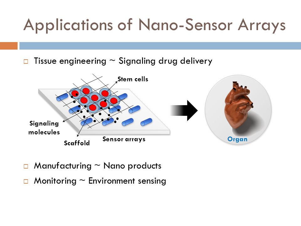  Tissue engineering ~ Signaling drug delivery  Manufacturing ~ Nano products  Monitoring ~ Environment sensing Applications of Nano-Sensor Arrays S