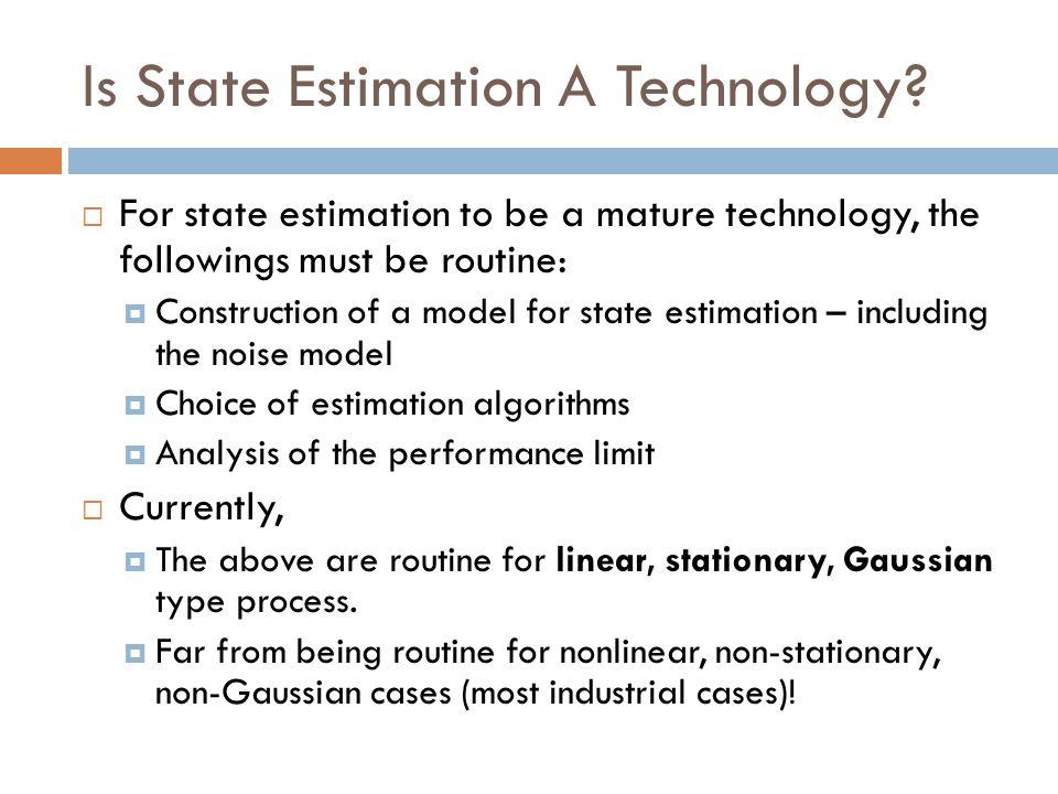 State of The Art  Linear system ( w/ symmetric (Gaussian) noise )  Kalman Filter – well understood.