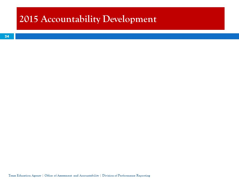 24 2015 Accountability Development Texas Education Agency | Office of Assessment and Accountability | Division of Performance Reporting