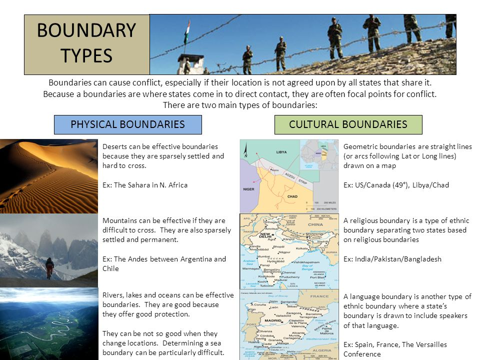 BOUNDARY TYPES Boundaries can cause conflict, especially if their location is not agreed upon by all states that share it. Because a boundaries are wh