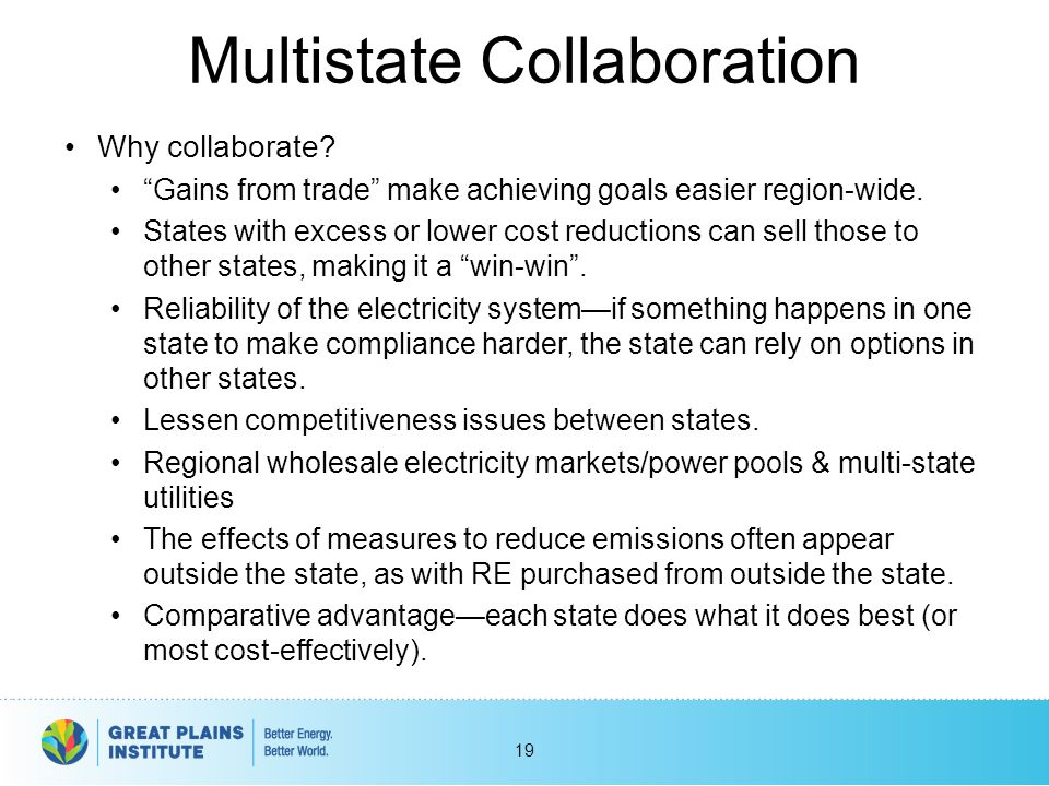 """Multistate Collaboration Why collaborate? """"Gains from trade"""" make achieving goals easier region-wide. States with excess or lower cost reductions can"""
