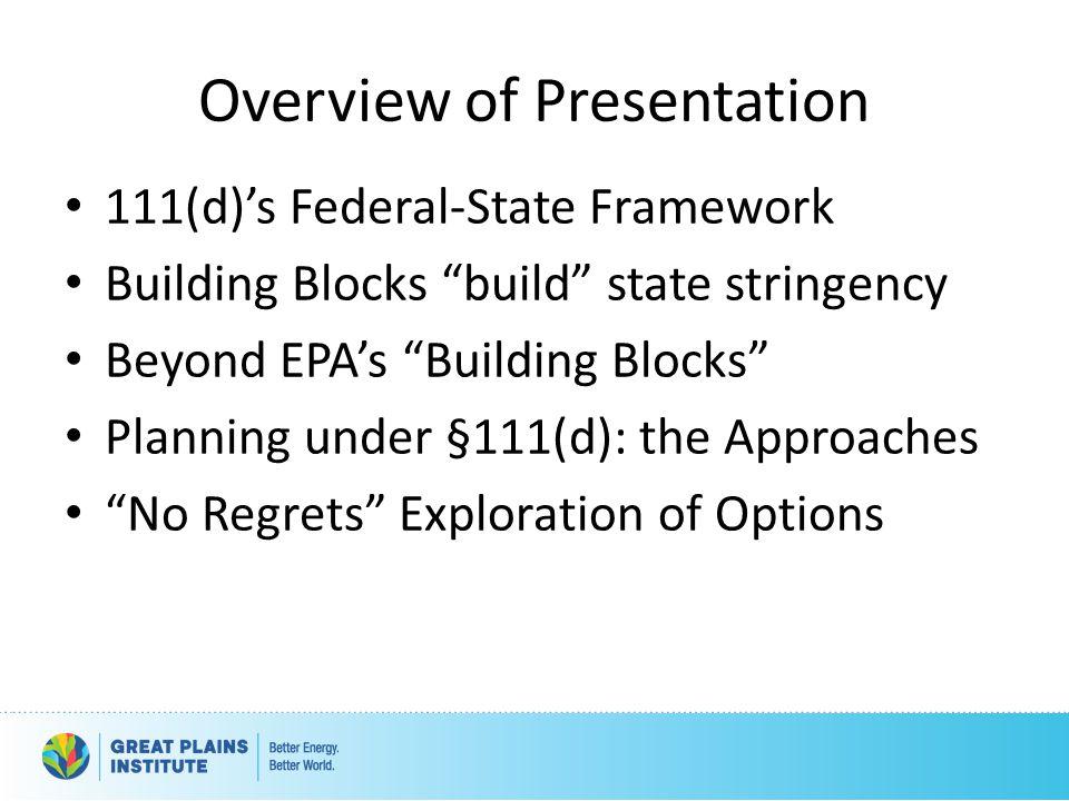 """Overview of Presentation 111(d)'s Federal-State Framework Building Blocks """"build"""" state stringency Beyond EPA's """"Building Blocks"""" Planning under §111("""
