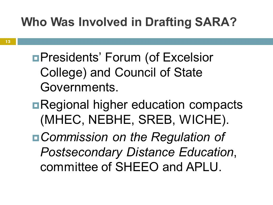 Who Was Involved in Drafting SARA.