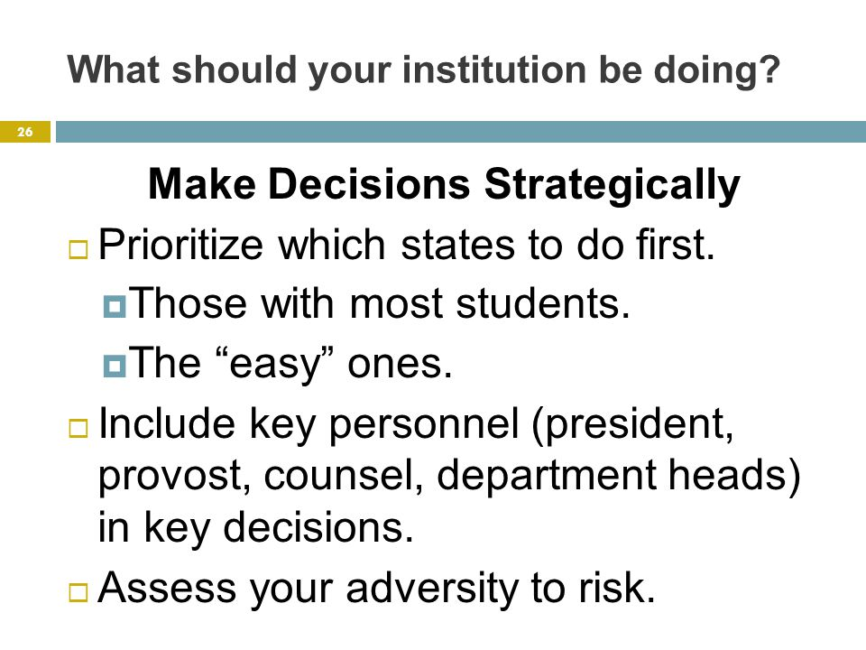 What should your institution be doing.