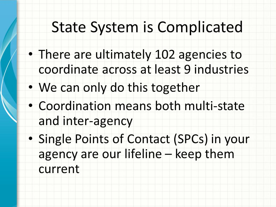 State System is Complicated There are ultimately 102 agencies to coordinate across at least 9 industries We can only do this together Coordination means both multi-state and inter-agency Single Points of Contact (SPCs) in your agency are our lifeline – keep them current