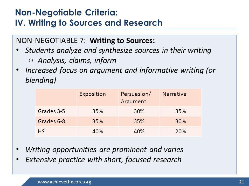 www.achievethecore.org Non-Negotiable Criteria: IV.