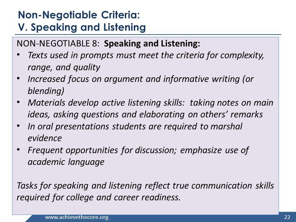 www.achievethecore.org Non-Negotiable Criteria: V.
