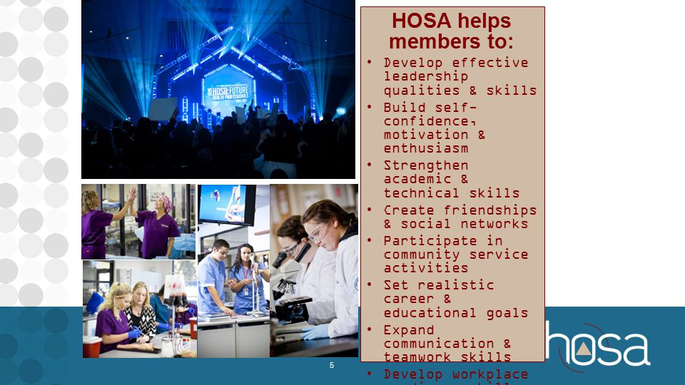 HOSA helps members to: Develop effective leadership qualities & skills Build self- confidence, motivation & enthusiasm Strengthen academic & technical skills Create friendships & social networks Participate in community service activities Set realistic career & educational goals Expand communication & teamwork skills Develop workplace readiness skills Understand current health issues Meet health professionals 5