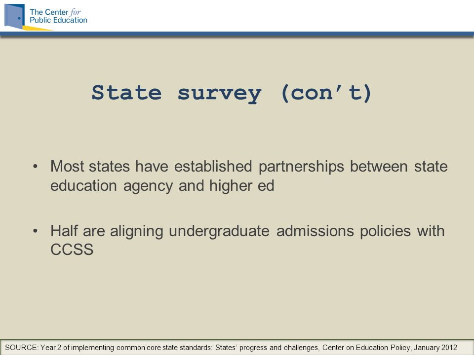 State survey (con't) Most states have established partnerships between state education agency and higher ed Half are aligning undergraduate admissions policies with CCSS SOURCE: Year 2 of implementing common core state standards: States' progress and challenges, Center on Education Policy, January 2012
