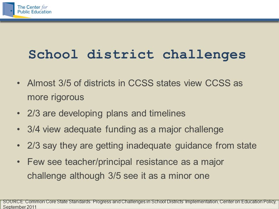 School district challenges Almost 3/5 of districts in CCSS states view CCSS as more rigorous 2/3 are developing plans and timelines 3/4 view adequate