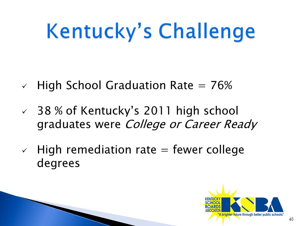 High School Graduation Rate = 76% 38 % of Kentucky's 2011 high school graduates were College or Career Ready High remediation rate = fewer college degrees 40