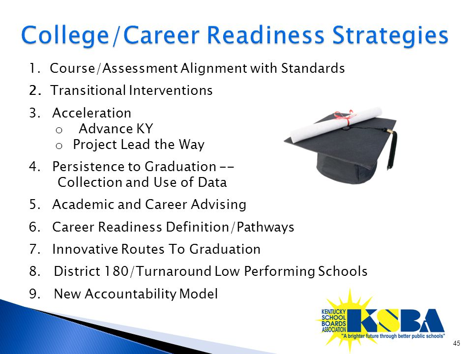 1. Course/Assessment Alignment with Standards 2. Transitional Interventions 3.Acceleration o Advance KY o Project Lead the Way 4. Persistence to Gradu